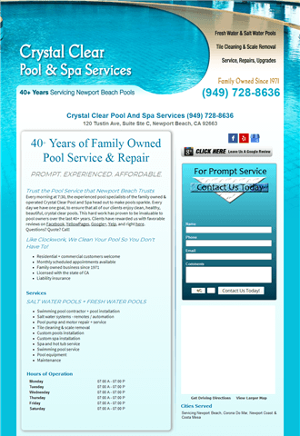 Crystal Clear Pool And Spa Services Newport Beach CA